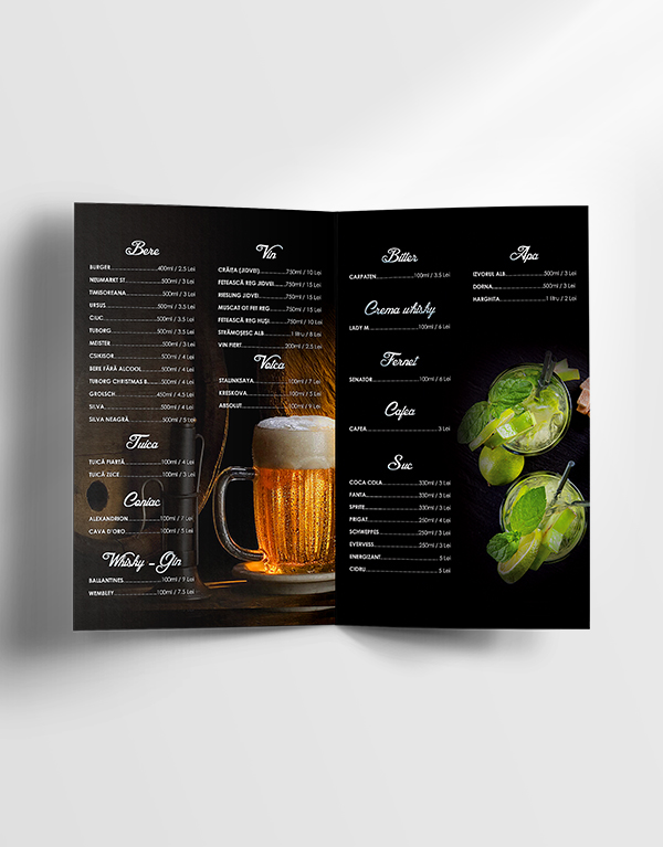 free drinks menu template