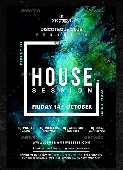 house music flyer psd