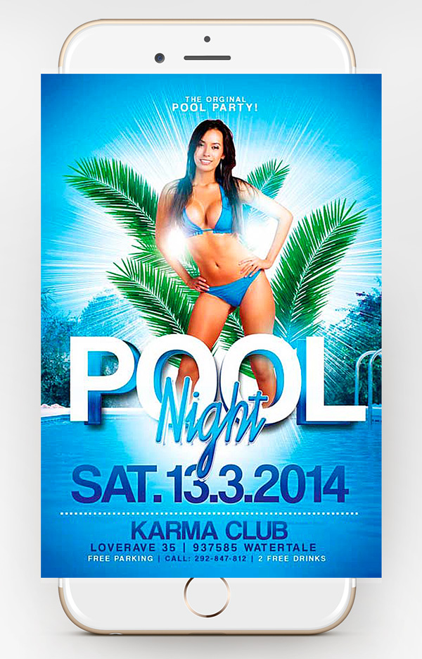 pool party psd template