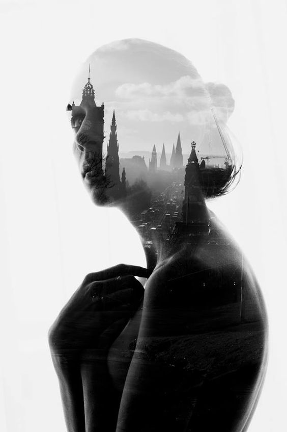 double exposure photo effect with urban envirommnent