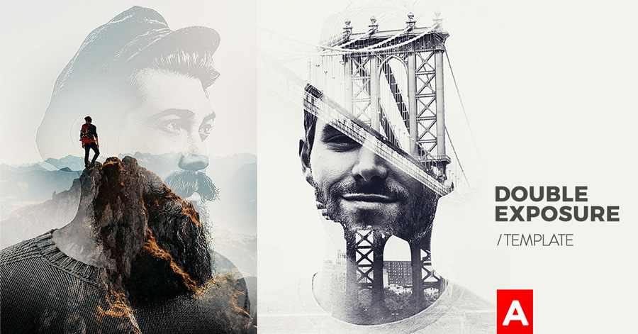 double exposure photo template in photoshop