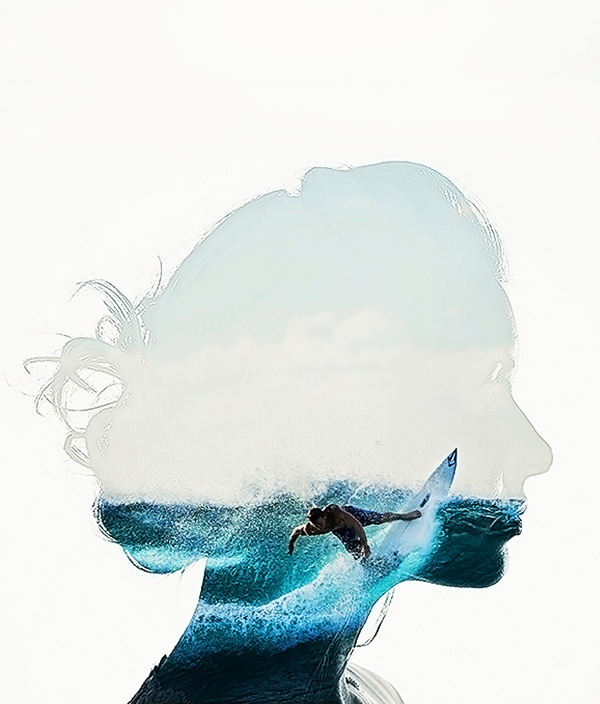 double exposure photoshop action with women portrait and surfing scene