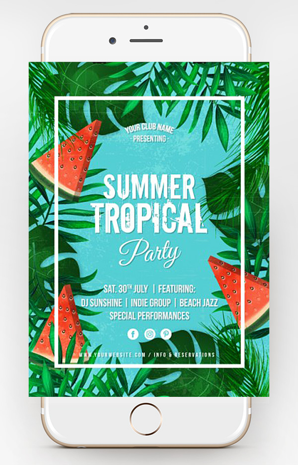 free summer psd flyer template