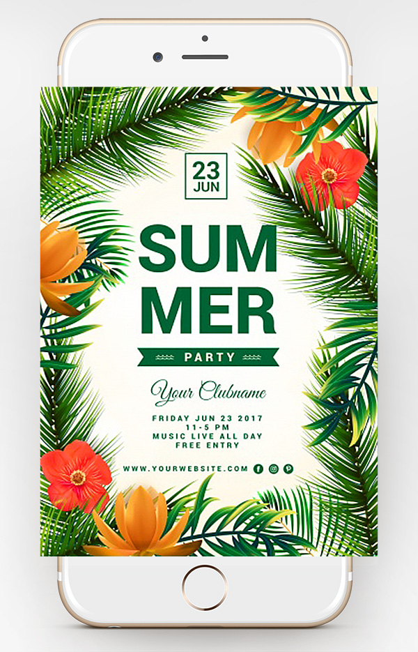 free tropical flyer psd template