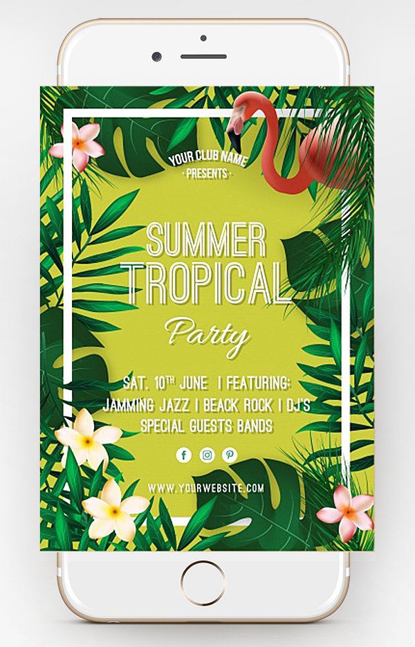 free summer tropical flyer template