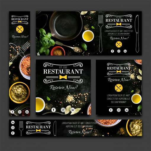 restaurant food banner set