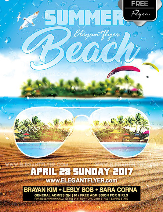 Summer beach flyer psd