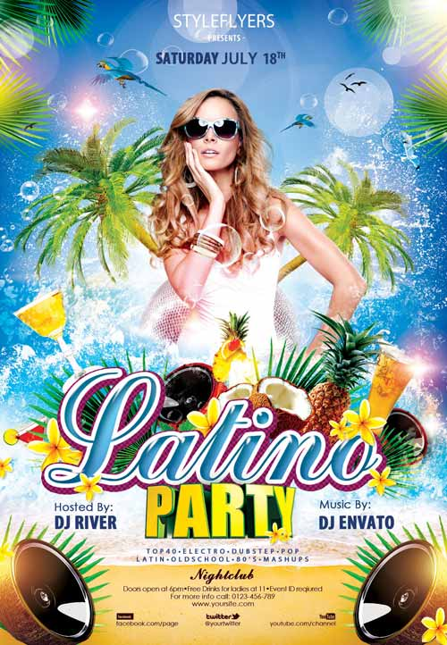 free latino party psd flyer