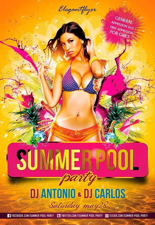 Summer Pool Party Free Club And Party Free Flyer Psd Template