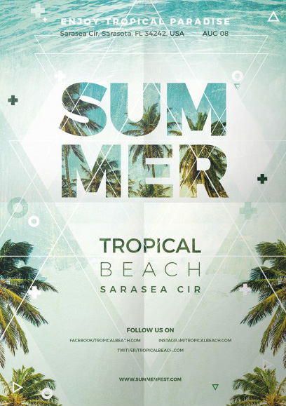 free summer psd flyer