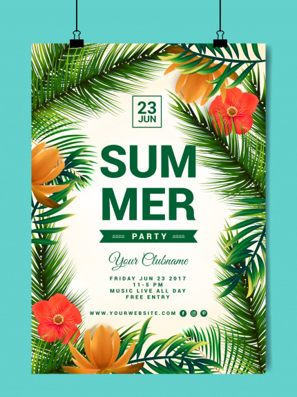 free summer flyer psd