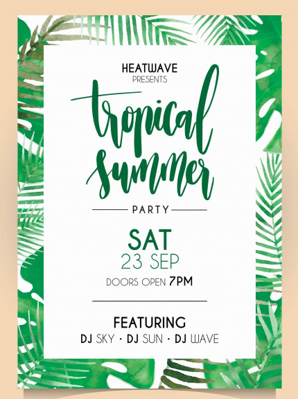 tropical free psd flyer