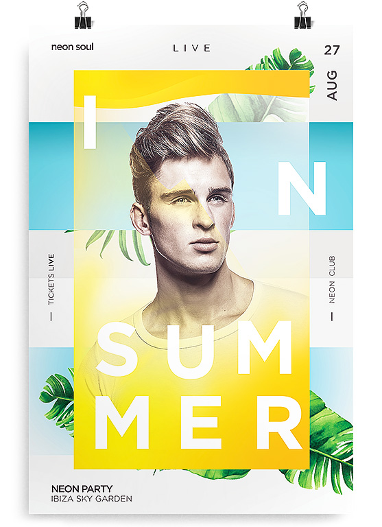 summer dj flyer psd